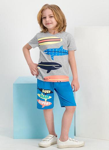 Roly Poly  Sharks Surf Grimelanj Erkek Çocuk Bermuda Takım Gri